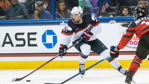<p>               FILE - In this Nov. 12, 2017, file photo, United States' Hilary Knight (21) controls the puck in front of Canada's Meaghan Mikkelson, right, during the second period of the Four Nations Cup championship hockey game in Tampa, Fla. Knight put aside the jet-leg and fresh memories of helping the United States win its latest women's world hockey championship to begin looking ahead to next season. (AP Photo/Willie J. Allen Jr., File)             </p>