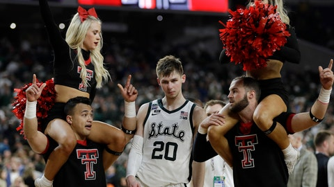 <p>               Michigan State's Matt McQuaid (20) leaves the court after the team's 61-51 loss to Texas Tech in the semifinals of the Final Four NCAA college basketball tournament, Saturday, April 6, 2019, in Minneapolis. (AP Photo/David J. Phillip)             </p>