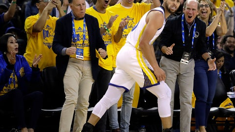 <p>               Fans cheer Golden State Warriors' Stephen Curry, front, reacts after a basket against the Los Angeles Clippers in the second half in Game 1 of a first-round NBA basketball playoff series Saturday, April 13, 2019, in Oakland, Calif. (AP Photo/Ben Margot)             </p>