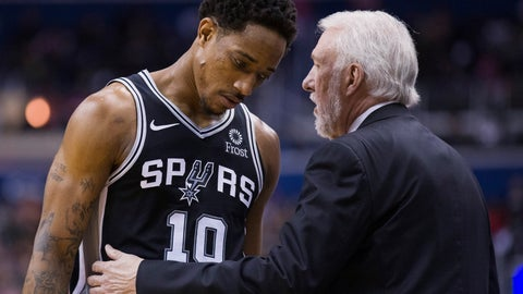 <p>               San Antonio Spurs guard DeMar DeRozan (10) listens to coach Gregg Popovich during the second half of the team's NBA basketball game against the Washington Wizards, Friday, April 5, 2019, in Washington. The Spurs won 129-112. (AP Photo/Alex Brandon)             </p>
