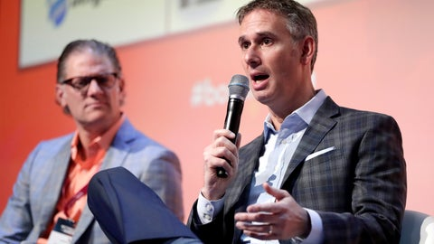 <p>               Keith Wachtel, right, CRO and executive vice president of the NHL, speaks as Joe Januszewski, CRO and executive vice president of the Texas Rangers baseball team, listens during a panel discussion talking about sponsorship revenue during the Betting On Sports America conference, Thursday, April 25, 2019, in Secaucus, N.J. (AP Photo/Julio Cortez)             </p>