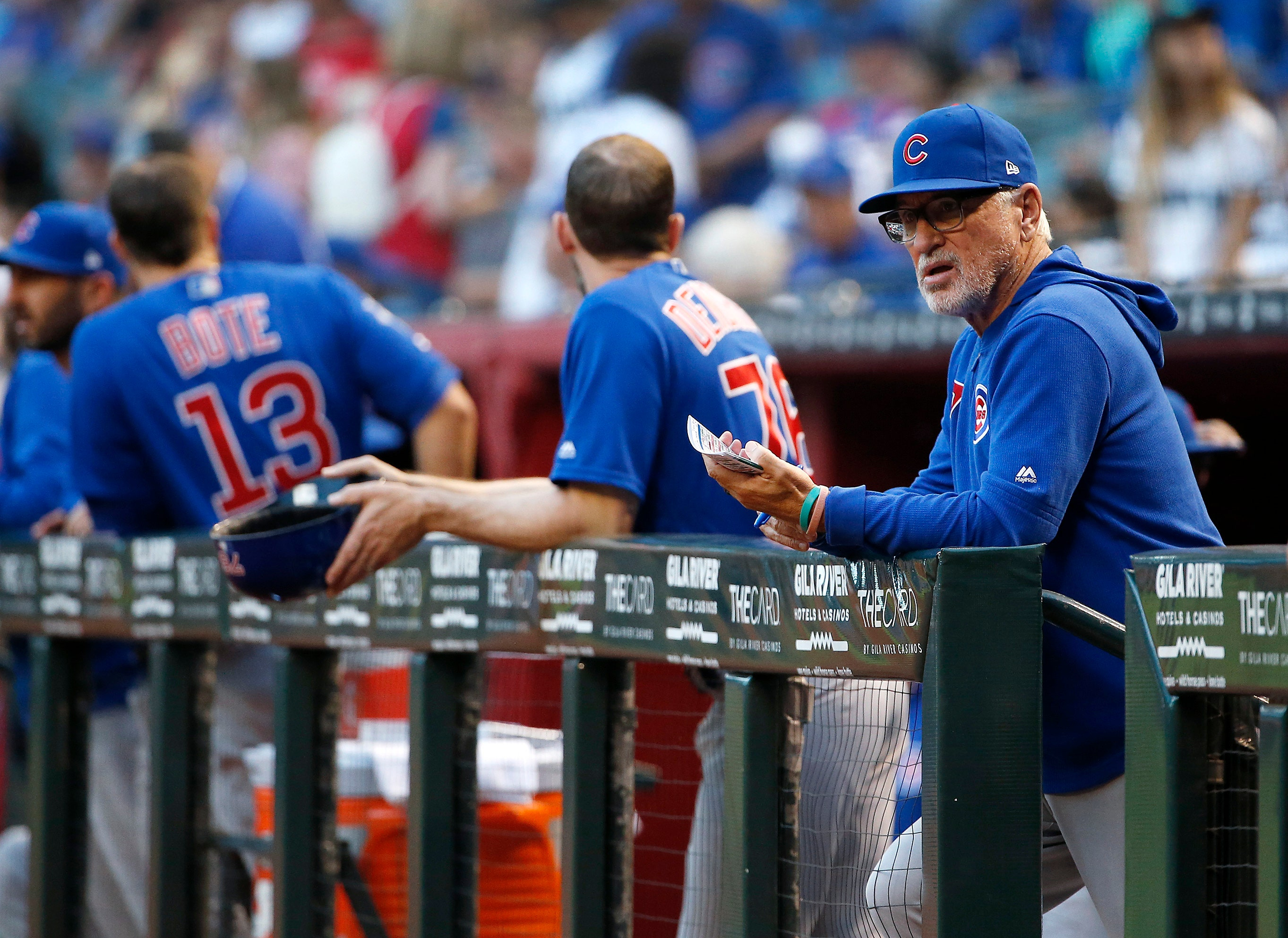 3a64bebf0c7 Chicago Cub manager Joe Maddon working ahead with lineups