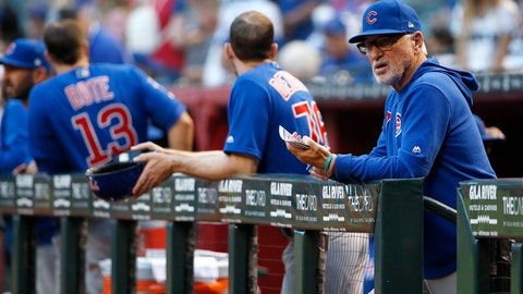 <p>               FILE - In this Friday, April 26, 2019, file photo, Chicago Cubs manager Joe Maddon, right, looks on from the dugout prior to the start of a baseball game against the Arizona Diamondbacks, in Phoenix. Maddon is doing his lineups three days at a time, giving his players an advance look at what to expect for the upcoming series. (AP Photo/Ralph Freso, File)             </p>
