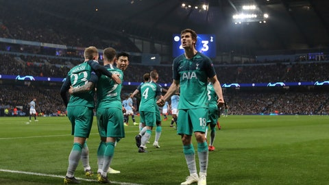 <p>               Tottenham Hotspur forward Fernando Llorente, right, celebrates his side's third goal with his teammates during the Champions League quarterfinal, second leg, soccer match between Manchester City and Tottenham Hotspur at the Etihad Stadium in Manchester, England, Wednesday, April 17, 2019. (AP Photo/Jon Super)             </p>