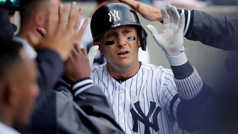 <p>               New York Yankees' Troy Tulowitzki is congratulated by teammates after hitting a solo home run against the Baltimore Orioles during the ninth inning of a baseball game, Saturday, March 30, 2019, in New York. The Orioles won 5-3. (AP Photo/Julie Jacobson)             </p>