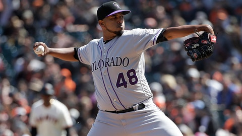 <p>               Colorado Rockies pitcher German Marquez throws against the San Francisco Giants during the seventh inning of a baseball game in San Francisco, Sunday, April 14, 2019. (AP Photo/Jeff Chiu)             </p>