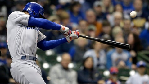 <p>               Chicago Cubs' Jason Heyward hits a two-run home run during the second inning of a baseball game against the Milwaukee Brewers Saturday, April 6, 2019, in Milwaukee. (AP Photo/Aaron Gash)             </p>