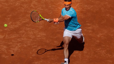 <p>               Spain's Rafael Nadal chases down the ball to return against Argentina's Leonardo Mayer during a men's singles match at the Barcelona Open Tennis Tournament in Barcelona, Spain, Wednesday, April 24, 2019. (AP Photo/Manu Fernandez)             </p>