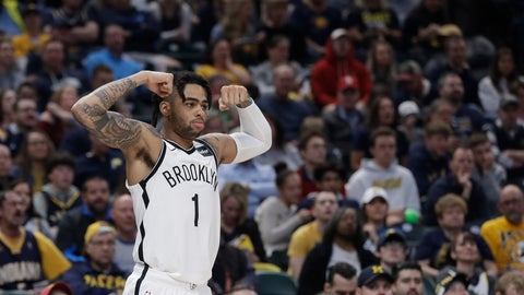 <p>               Brooklyn Nets' D'Angelo Russell reacts after a Brooklyn basket during the second half of the team's NBA basketball game against the Indiana Pacers, Sunday, April 7, 2019, in Indianapolis. Brooklyn won 108-96. (AP Photo/Darron Cummings)             </p>