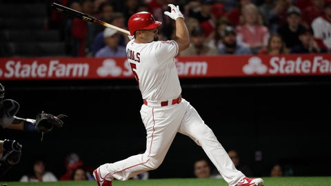 <p>               Los Angeles Angels' Albert Pujols follows through on an RBI single during the third inning of the team's baseball game against the Seattle Mariners, Thursday, April 18, 2019, in Anaheim, Calif. (AP Photo/Jae C. Hong)             </p>