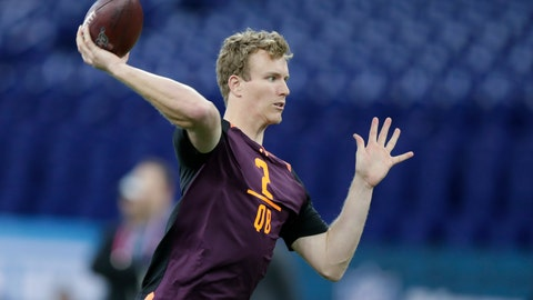 <p>               FILE - In this March 2, 2019, file photo, North Carolina State quarterback Ryan Finley runs a drill at the NFL football scouting combine in Indianapolis. By moving up to take Ryan Finley in the fourth round, the Bengals set up a competition for quarterback slots. Andy Dalton is the starter for now, but Jeff Driskel's role as the backup is in peril. (AP Photo/Michael Conroy, File)             </p>