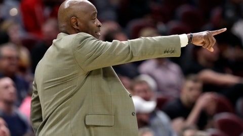 <p>               Cleveland Cavaliers head coach Larry Drew yells instructions to players in the first half of an NBA basketball game against the Charlotte Hornets, Tuesday, April 9, 2019, in Cleveland. Charlotte won 124-97. (AP Photo/Tony Dejak)             </p>