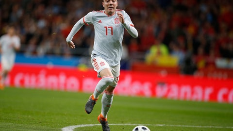 <p>               FILE - In this file photo dated Tuesday March 27, 2018, Spain's Iago Aspas runs with the ball during the international friendly soccer match against Argentina at the Wanda Metropolitano stadium in Madrid, Spain.  Aspas scored two second-half goals Saturday March 30, 2019, to help overturn a 2-0 deficit and beat Villarreal 3-2(AP Photo/Paul White, FILE)             </p>