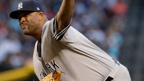 <p>               New York Yankees starting pitcher C.C. Sabathia throws during the first inning of the team's baseball game against the Arizona Diamondbacks, Tuesday, April 30, 2019, in Phoenix. (AP Photo/Matt York)             </p>