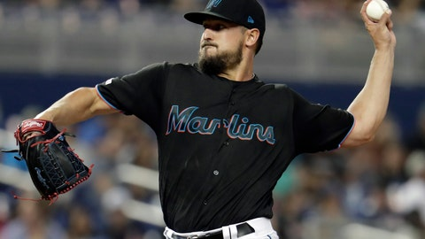 <p>               Miami Marlins starting pitcher Caleb Smith delivers a pitch during the first inning of a baseball game against the Washington Nationals, Friday, April 19, 2019, in Miami. (AP Photo/Lynne Sladky)             </p>