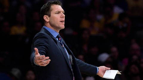 <p>               Los Angeles Lakers coach Luke Walton gestures during the second half of the team's NBA basketball game against the Portland Trail Blazers on Tuesday, April 9, 2019, in Los Angeles. The Trail Blazers won 104-101. (AP Photo/Mark J. Terrill)             </p>