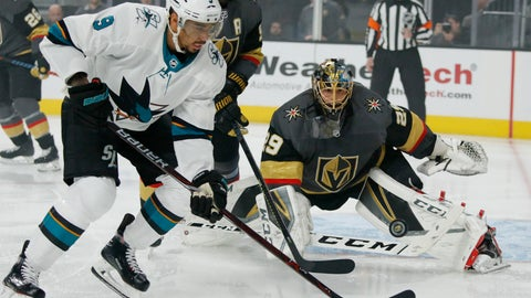 <p>               Vegas Golden Knights goaltender Marc-Andre Fleury (29) blocks a shot beside San Jose Sharks left wing Evander Kane during the first period of Game 4 of a first-round NHL hockey playoff series Tuesday, April 16, 2019, in Las Vegas. (AP Photo/John Locher)             </p>