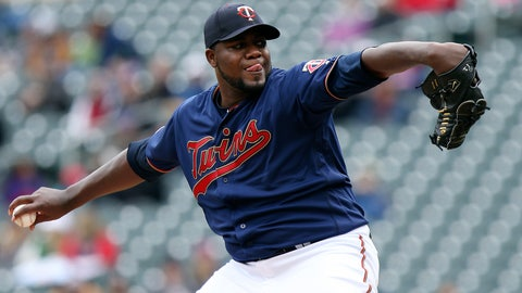 <p>               Minnesota Twins pitcher Michael Pineda throws in the first inning of a baseball game against the Detroit Tigers, Saturday, April 13, 2019 in Minneapolis. (AP Photo/Stacy Bengs)             </p>