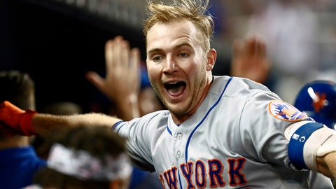<p>               New York Mets' Pete Alonso celebrates after hitting a three-run home run during the ninth inning of a baseball game against the Miami Marlins, Monday, April 1, 2019, in Miami. It was Alonso's first major league home run. (AP Photo/Brynn Anderson)             </p>