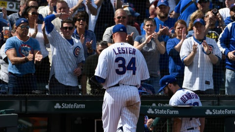 <p>               Chicago Cubs starting pitcher Jon Lester (34) leaves the game against the Pittsburgh Pirates during the third inning of a baseball game, Monday, April 8, 2019, in Chicago. (AP Photo/David Banks)             </p>