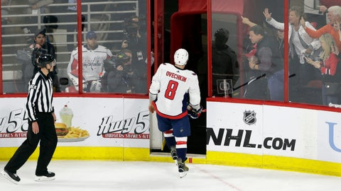 <p>               Washington Capitals' Alex Ovechkin (8), off Russia, leaves the ice following a penalty during the third period of Game 6 of an NHL hockey first-round playoff series against the Carolina Hurricanes in Raleigh, N.C., Monday, April 22, 2019. Carolina won 5-2. (AP Photo/Gerry Broome)             </p>