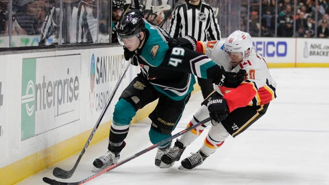 <p>               Anaheim Ducks' Max Jones, left, moves the puck past Calgary Flames' Derek Ryan during the second period of an NHL hockey game Wednesday, April 3, 2019, in Anaheim, Calif. (AP Photo/Jae C. Hong)             </p>