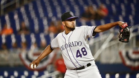 <p>               Colorado Rockies starting pitcher German Marquez delivers during the first inning of a baseball game against the Miami Marlins on Friday, March 29, 2019, in Miami. (AP Photo/Brynn Anderson)             </p>