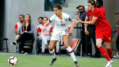 <p>               Belgium defender Heleen Jaques (4) grabs United States forward Carli Lloyd (10) during the first half of their international friendly soccer match Sunday, April 7, 2019, in Los Angeles. (AP Photo/Ringo H.W. Chiu)             </p>