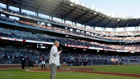 "<p>               Former Atlanta Braves manager and Baseball Hall of Fame member Bobby Cox gives the command to ""play ball"" before the Braves' home opener baseball game against the Chicago Cubs, Monday, April 1, 2019, in Atlanta. (AP Photo/John Bazemore)             </p>"