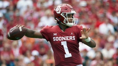 <p>               FILE - In this Oct. 6, 2018, file photo, Oklahoma quarterback Kyler Murray (1) throws a pass against Texas during the first half of an NCAA college football game at the Cotton Bowl, in Dallas. Murray is a possible pick in the 2019 NFL Draft. (AP Photo/Cooper Neill, File)             </p>