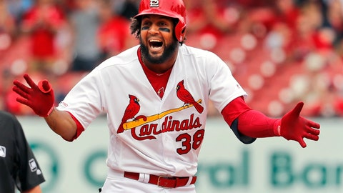 <p>               St. Louis Cardinals' Jose Martinez celebrates after hitting an RBI double during the sixth inning of a baseball game against the Los Angeles Dodgers Thursday, April 11, 2019, in St. Louis. (AP Photo/Jeff Roberson)             </p>