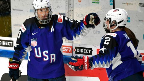 <p>               Goal scorer Hilary Knight, left, and assist Kelly Pannek of the U.S. celebrate game opening goal during the IIHF Women's Ice Hockey World Championships semifinal match between the United States and Russia in Espoo, Finland on Saturday, April 13, 2019. (Jussi Nukari/Lehtikuva via AP)             </p>