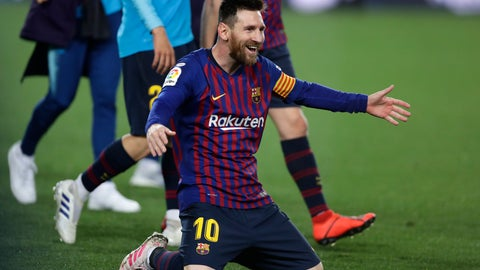 <p>               Barcelona forward Lionel Messi celebrates winning the Spanish League title, at the end of the Spanish La Liga soccer match between FC Barcelona and Levante at the Camp Nou stadium in Barcelona, Spain, Saturday, April 27, 2019. Barcelona clinched the Spanish La Liga title, with three matches to spare, after it defeated Levante 1-0. (AP Photo/Manu Fernandez)             </p>
