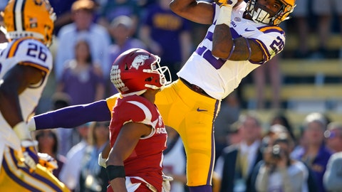 """<p>               FILE - In this Nov. 11, 2017, file photo, LSU cornerback Andraez """"Greedy"""" Williams (29) pulls in an interception in the end zone late in the second half of an NCAA college football game against Arkansas in Baton Rouge, La. Williams is a possible pick in the 2019 NFL Draft. (AP Photo/Gerald Herbert, File)             </p>"""