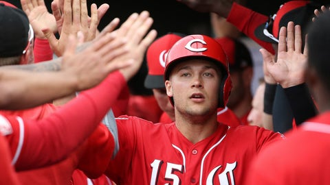 <p>               FILE - In this Monday, March 11, 2019 file photo, Cincinnati Reds' Nick Senzel (15) celebrates his run scored against the Cleveland Indians during the second inning of a spring training baseball game in Goodyear, Ariz. The Cincinnati Reds could bring up top prospect Nick Senzel before the Friday, May 3, 2019 game against San Francisco, putting the 23-year-old outfielder in position to make his major league debut against the Giants. (AP Photo/Ross D. Franklin, File)             </p>
