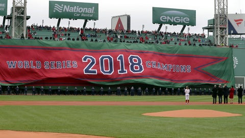 <p>               The 2018 World Series Champions banner is unfurled on the Green Monster left field wall of Fenway Park before the home opener baseball game between the Red Sox and the Toronto Blue Jays, Tuesday, April 9, 2019, in Boston. (AP Photo/Charles Krupa)             </p>