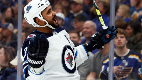 <p>               Winnipeg Jets' Dustin Byfuglien celebrates after scoring during the third period in Game 3 of an NHL first-round hockey playoff series against the St. Louis Blues Sunday, April 14, 2019, in St. Louis. The Jets won 6-3. (AP Photo/Jeff Roberson)             </p>