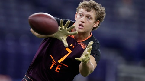 <p>               FILE - In this Saturday, March 2, 2019 file photo, Iowa tight end T.J. Hockenson runs a drill at the NFL football scouting combine in Indianapolis. Noah Fant and T.J. Hockenson spent their three years at Iowa trying to one-up each other in a friendly but fierce competition. So, why should the NFL draft be any different? The latest members of the Hawkeyes' long pipeline to the pros are expected to become the first tight end duo from the same school ever selected in the first round of the draft.(AP Photo/Michael Conroy, File)             </p>