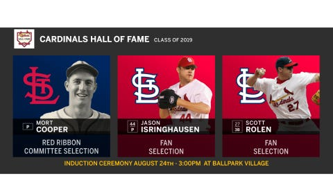 The Cardinals Hall of Fame Class of 2019: Mort Cooper, Jason Isringhausen and Scott Rolen.