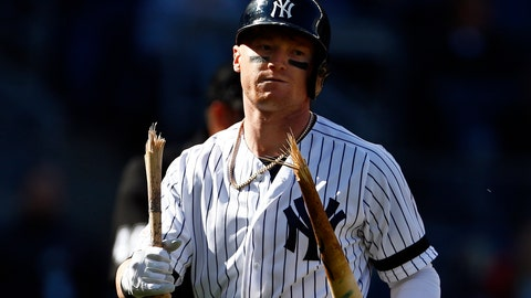 <p>               New York Yankees' Clint Frazier walks back to the dugout with a broken bat after striking out to end the ninth inning of a baseball game against the Kansas City Royals on Sunday, April 21, 2019, in New York. (AP Photo/Adam Hunger)             </p>