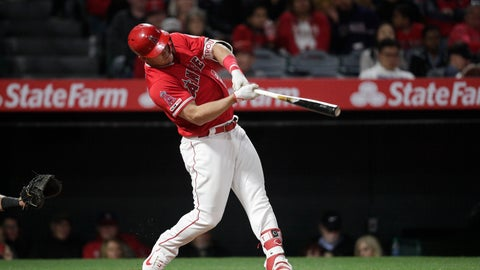 <p>               Los Angeles Angels' Mike Trout hits a home run during the sixth inning of the team's baseball game against the Texas Rangers, Friday, April 5, 2019, in Anaheim, Calif. (AP Photo/Jae C. Hong)             </p>