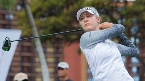 <p>               In this photo taken Wednesday, April 17, 2019, Nelly Korda follows her drive from the first tee of Ko Olina Golf Club during the first round of the Lotte Championship golf tournament in Kapolei, Hawaii. (Craig T. Kojima/Honolulu Star-Advertiser via AP)             </p>