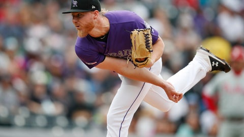 <p>               Colorado Rockies starting pitcher Jon Gray works against the Philadelphia Phillies in the first inning of a baseball game Sunday, April 21, 2019, in Denver. (AP Photo/David Zalubowski)             </p>