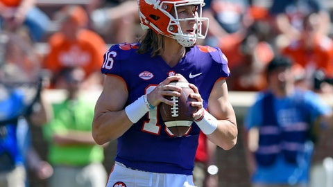 <p>               Clemson's Trevor Lawrence drops back to pass during Clemson's annual Orange and White NCAA college football spring scrimmage Saturday, April 6, 2019, in Clemson, S.C. (AP Photo/Richard Shiro)             </p>
