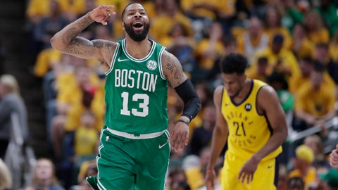 <p>               Boston Celtics forward Marcus Morris (13) celebrates during the second half of Game 4 against the Indiana Pacers in the NBA basketball first-round playoff series in Indianapolis, Sunday, April 21, 2019. The Celtics defeated the Pacers 110-106 to win the series 4-0. (AP Photo/Michael Conroy)             </p>