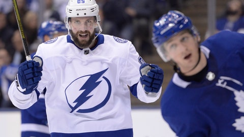 <p>               Tampa Bay Lightning right wing Nikita Kucherov (86) celebrates his goal against the Toronto Maple Leafs during the third period of an NHL hockey game in Toronto on Thursday, April 4, 2019. (Nathan Denette/The Canadian Press via AP)             </p>
