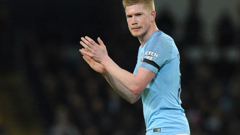 <p>               Manchester City's Kevin De Bruyne reacts during the English Premier League soccer match between Manchester City and Cardiff City at Etihad stadium in Manchester, England, Wednesday, April 3, 2019. (AP Photo/Rui Vieira)             </p>
