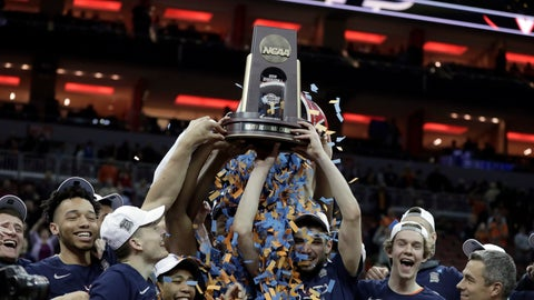 <p>               FILE - In this March 30, 2019, file photo, members of Virginia celebrate after defeating Purdue 80-75 in overtime of the men's NCAA Tournament college basketball South Regional final game in Louisville, Ky. An Associated Press analysis of rosters of perennial NCAA Tournament teams concludes it takes NBA-caliber talent to go far consistently. And though this year's Final Four is being touted as one in which experience and teamwork won out over raw talent, three of the teams in Minneapolis, including Virginia, possess that young NBA talent. (AP Photo/Michael Conroy, File)             </p>