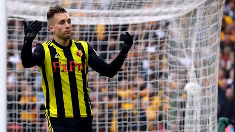 <p>               Watford's Gerard Deulofeu celebrates after scoring his side's third goal during the English FA Cup semifinal soccer match between Watford and Wolverhampton Wanderers at Wembley Stadium in London, Sunday, April 7, 2019. (AP Photo/Matt Dunham)             </p>