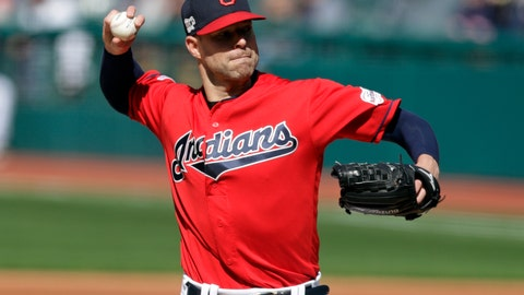<p>               Cleveland Indians starting pitcher Corey Kluber delivers to the Atlanta Braves in the first inning during the first game of a baseball doubleheader, Saturday, April 20, 2019, in Cleveland. (AP Photo/Tony Dejak)             </p>